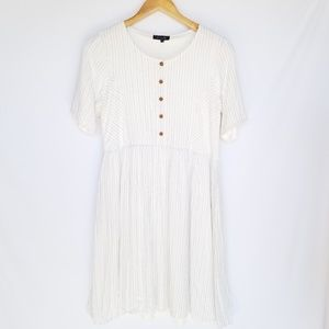 Roolee Striped White Fit & Flare Button Up Dress S